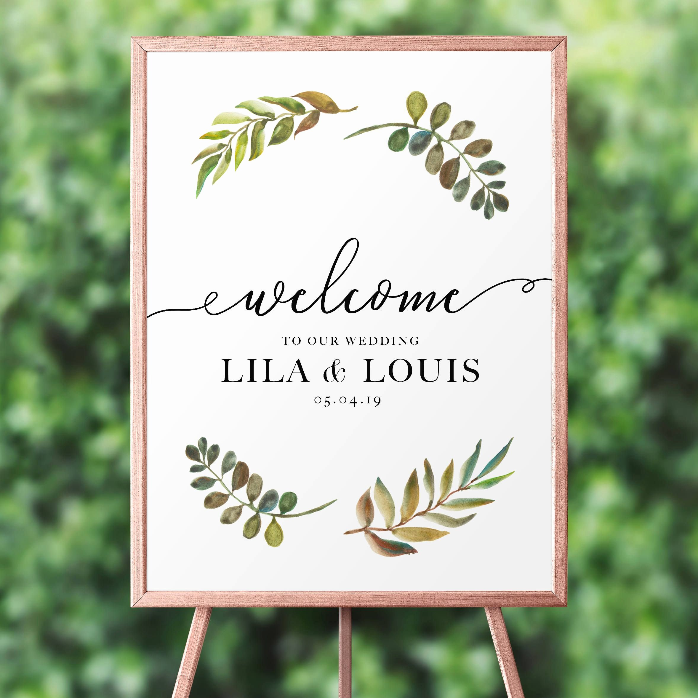 Wedding Welcome Sign Template Fresh Wel E Wedding Sign Template Greenery Wel E to Our