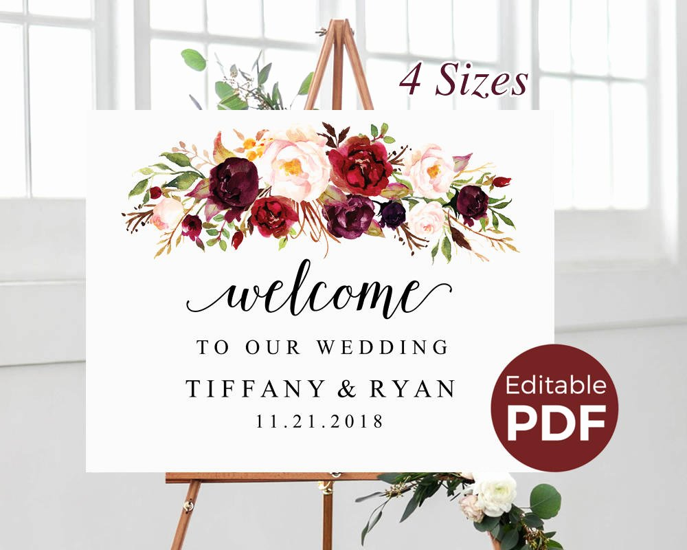 Wedding Welcome Sign Template Inspirational Marsala Wedding Wel E Sign Editable Pdf Template Boho