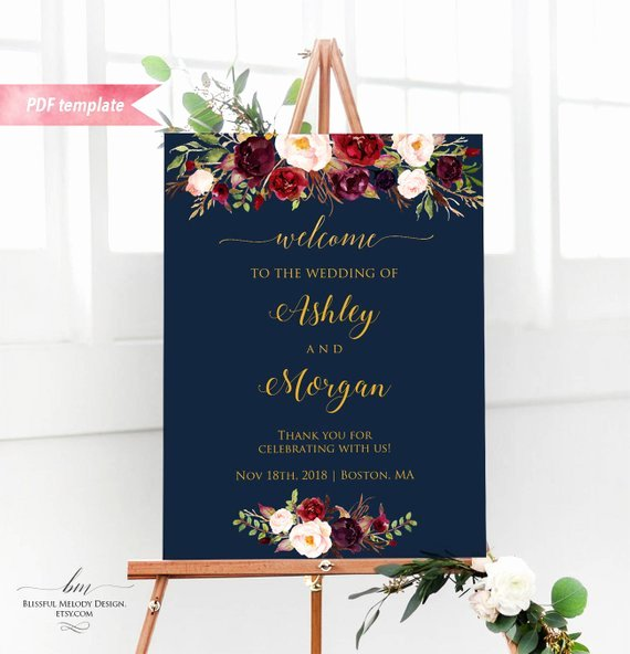 Wedding Welcome Sign Template Inspirational Printable Burgundy Floral Navy Blue Wel E Sign Editable
