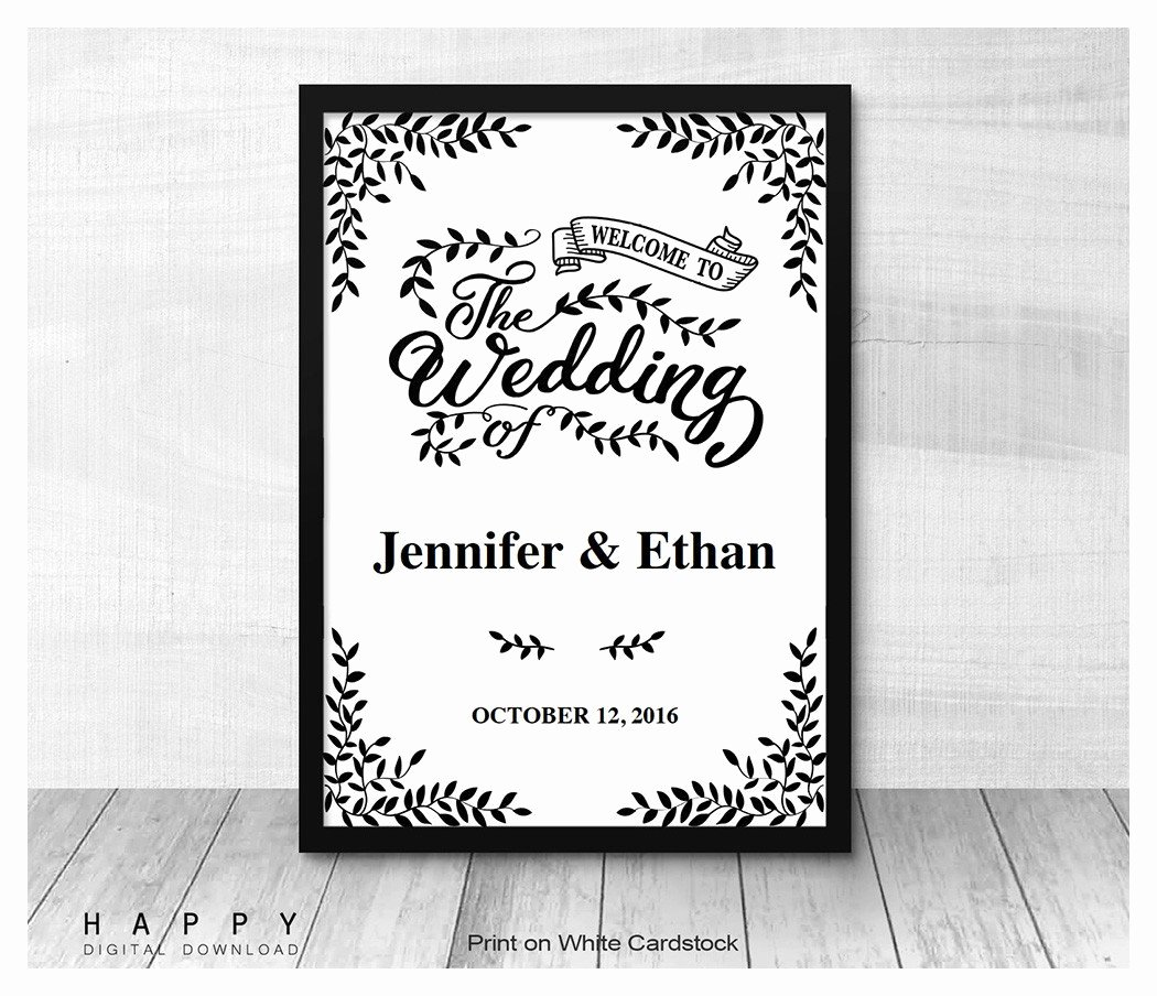 Wedding Welcome Sign Template Luxury Rustic Leaves Wel E Sign Template Happy Digital Download