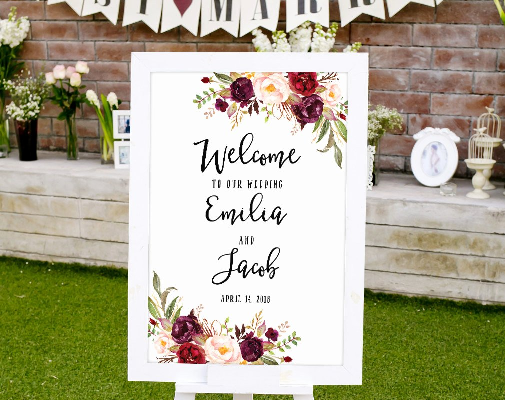 Wedding Welcome Sign Template New Wedding Wel E Sign Template Printable Wedding Reception