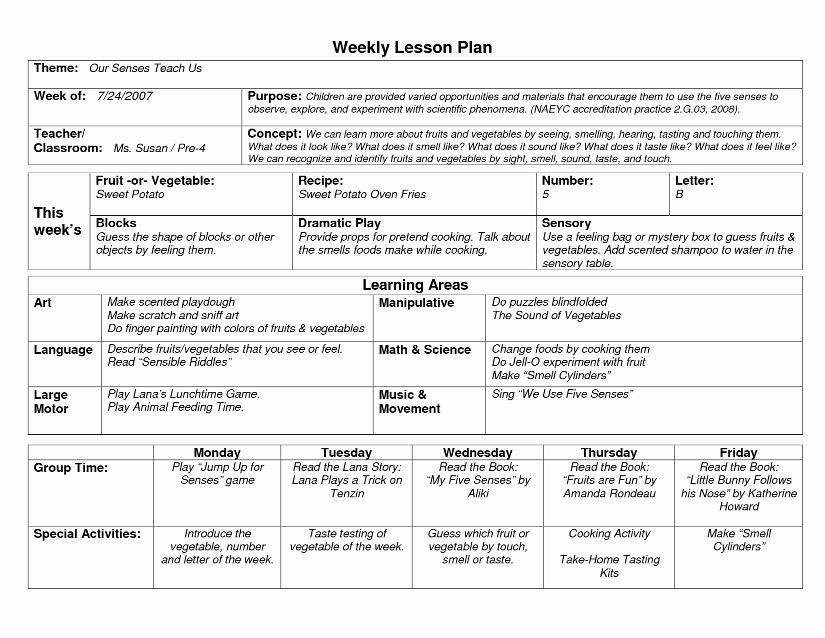 Week Lesson Plan Template Awesome Naeyc Lesson Plan Template for Preschool