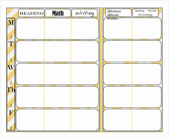Week Lesson Plan Template Fresh 9 Sample Weekly Lesson Plans