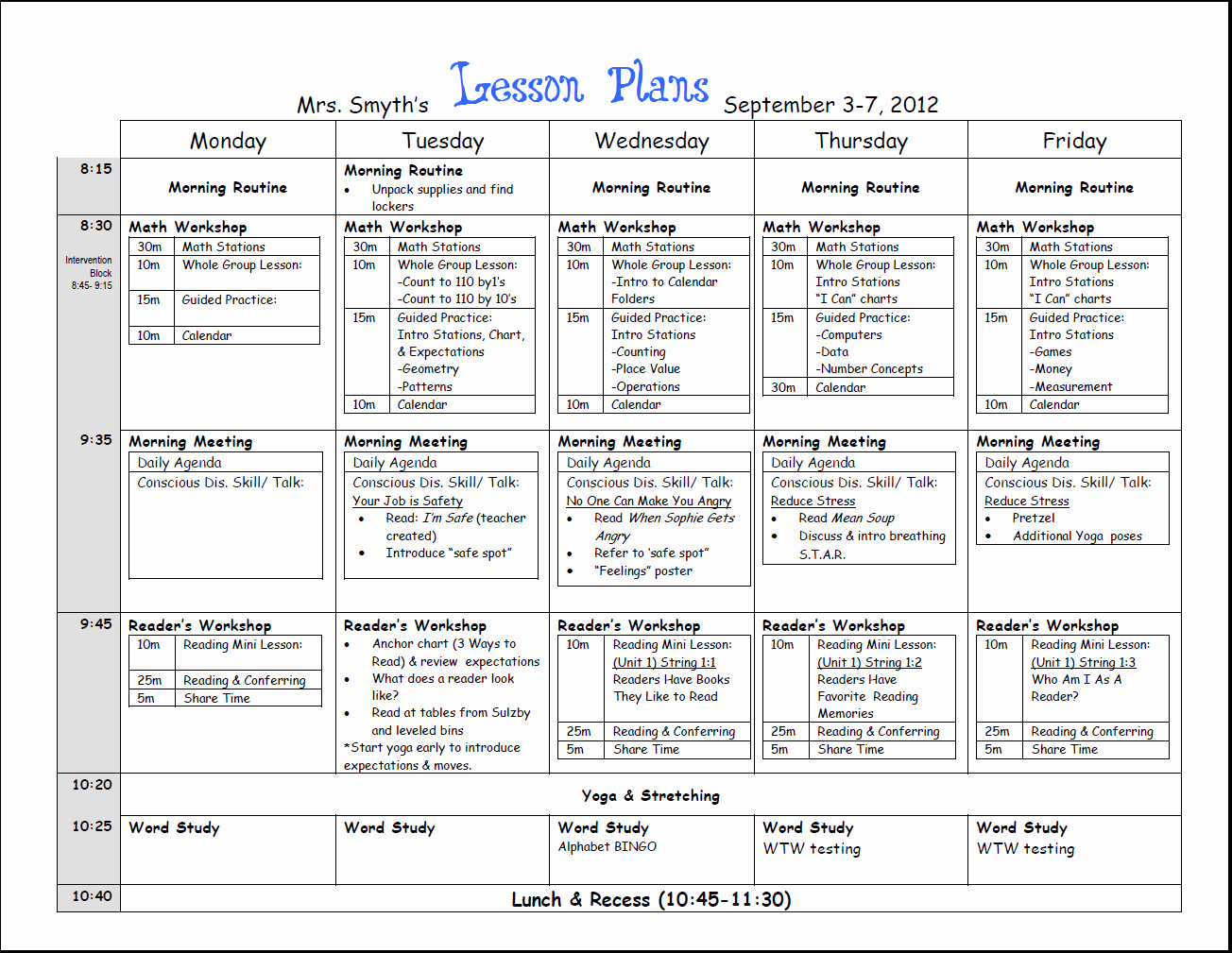 Week Lesson Plan Template Fresh Free Weekly Lesson Plan Template and Teacher Resources