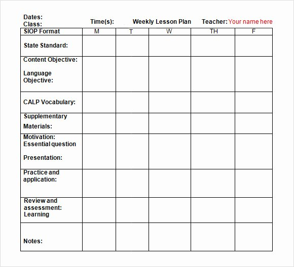 Week Lesson Plan Template New Weekly Lesson Plan Template Doc
