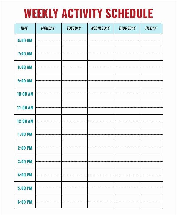 Week Schedule Template Pdf Elegant Weekly Activity Schedule Templates 5 Free Word Pdf