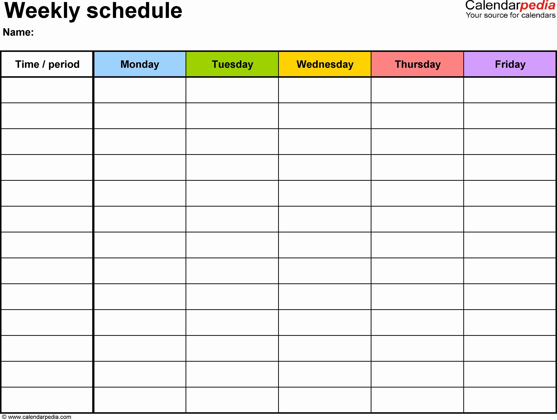 Week Schedule Template Pdf Fresh Weekly Calendar Pdf