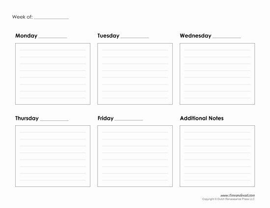 Week Schedule Template Pdf Fresh Weekly Calendar Printable