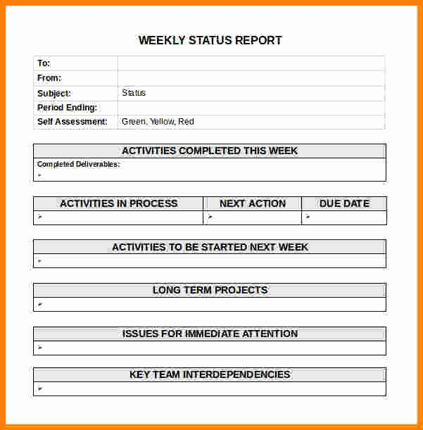 Weekly Activities Report Template Beautiful 12 Simple Activity Progress Report Template