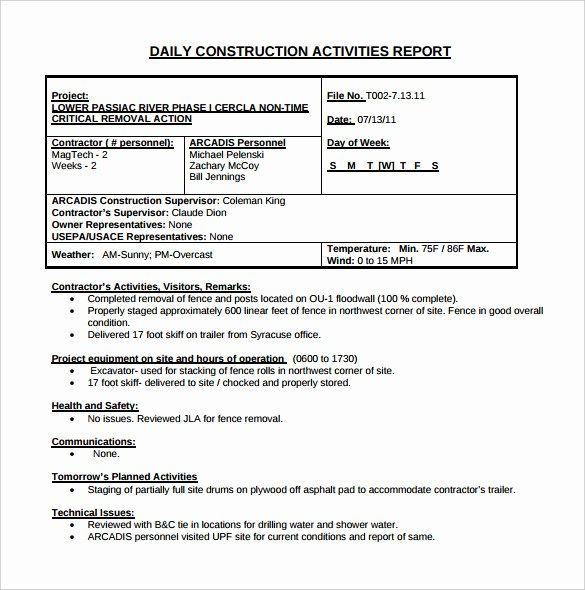 Weekly Activities Report Template Best Of 21 Daily Construction Report Templates Pdf Google Docs