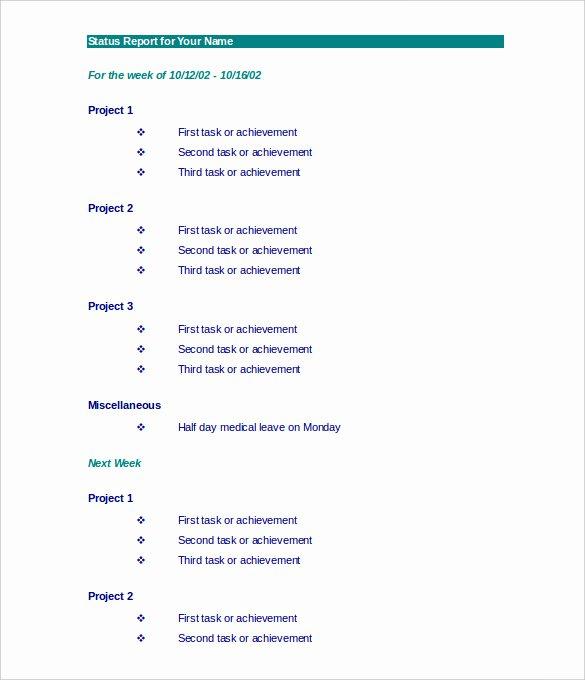 Weekly Activities Report Template Inspirational Weekly Activity Report Template – 23 Free Word Excel