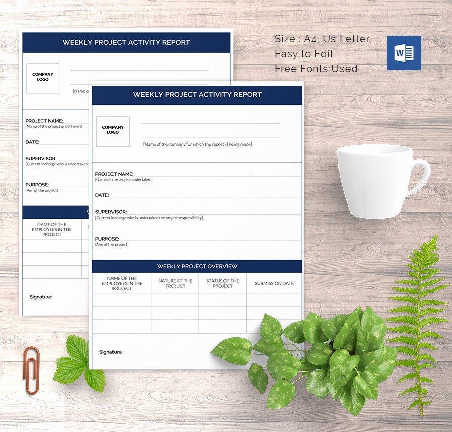 Weekly Activities Report Template Inspirational Weekly Activity Report Template 30 Free Word Excel