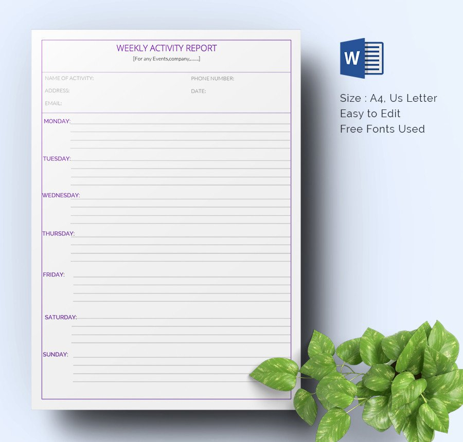 Weekly Activity Report Template Best Of Weekly Activity Report Template 30 Free Word Excel