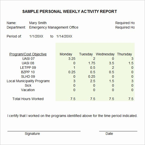 Weekly Activity Report Template Lovely 33 Weekly Activity Report Templates Pdf Doc