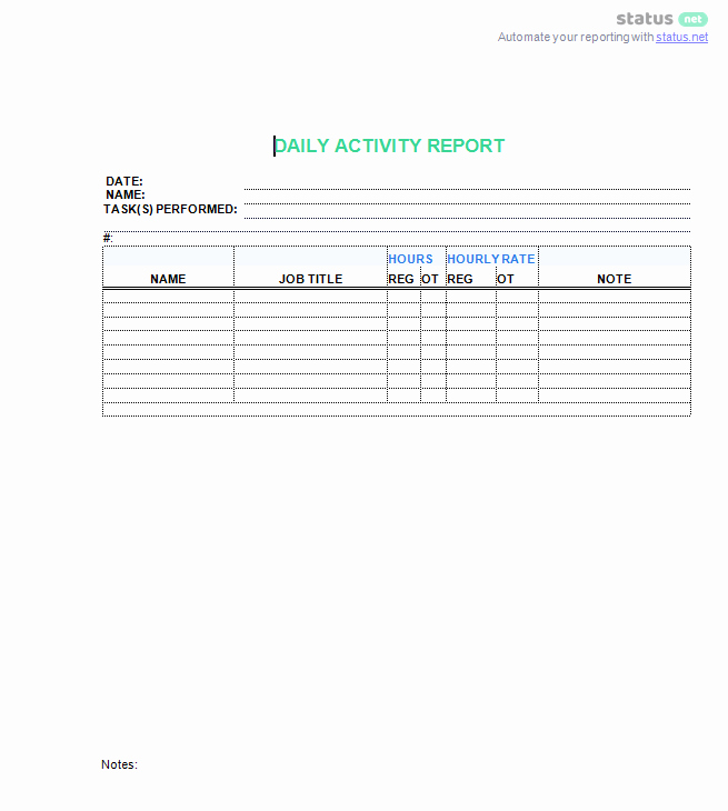 Weekly Activity Report Template Luxury 3 top Downloads Of A Daily Work Log Template