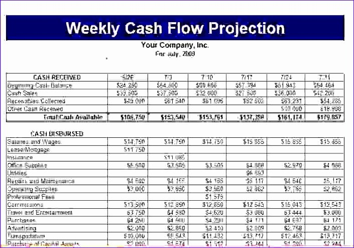 Weekly Cash Flow Template New 6 Weekly Cash Flow Template Excel Exceltemplates