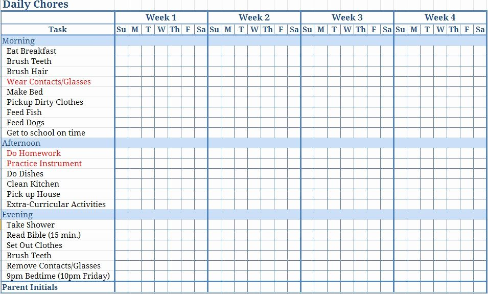 Weekly Chore Chart Template Awesome Free Templates Chore Charts