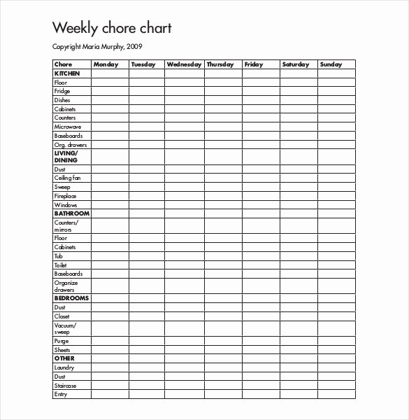 Weekly Chore Chart Template Elegant 30 Weekly Chore Chart Templates Doc Excel