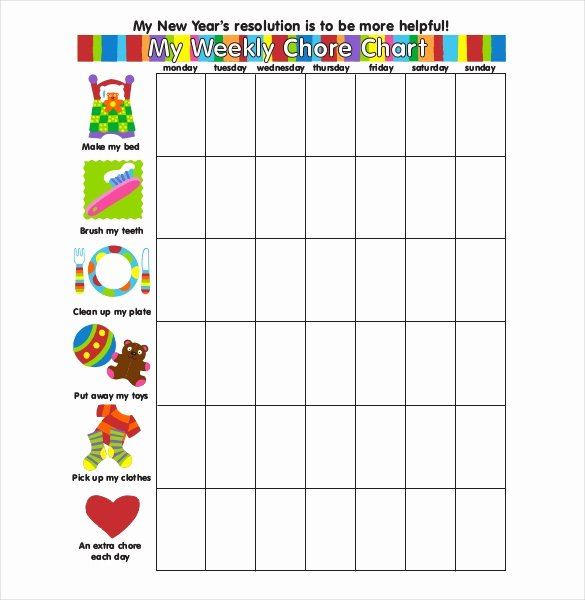 Weekly Chore Chart Template Luxury Weekly Chore Chart Template 24 Free Word Excel Pdf