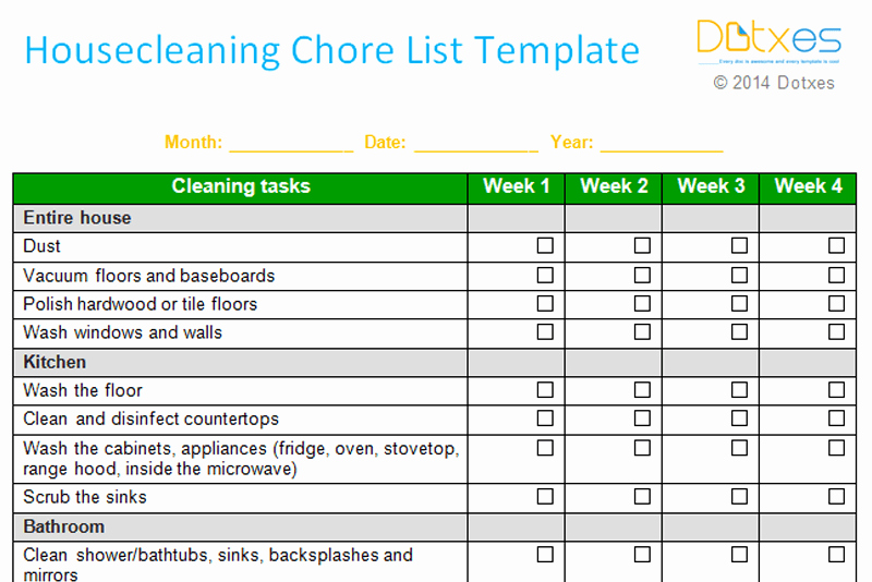 Weekly Chore Chart Template New House Cleaning Chore List Template Weekly Dotxes
