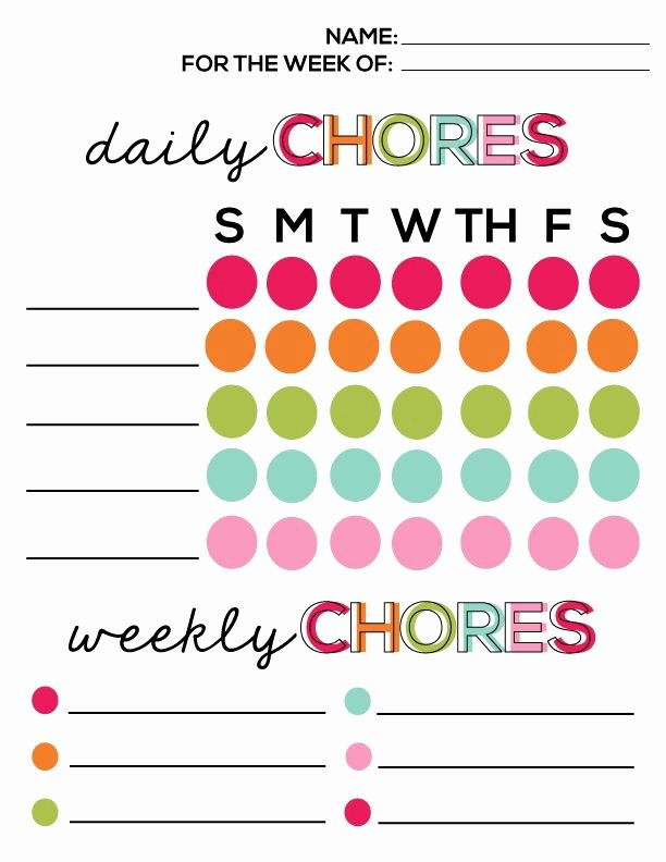 free printable daily chore chart template