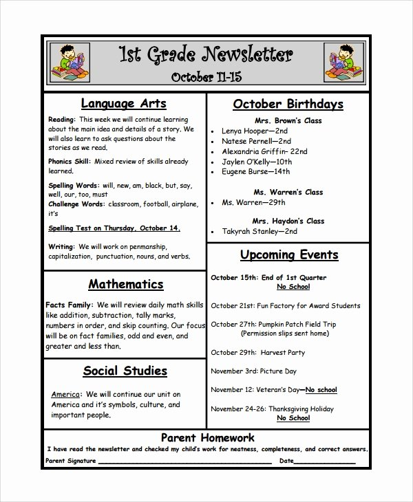 Weekly Classroom Newsletter Template Beautiful 10 Weekly Newsletter Templates