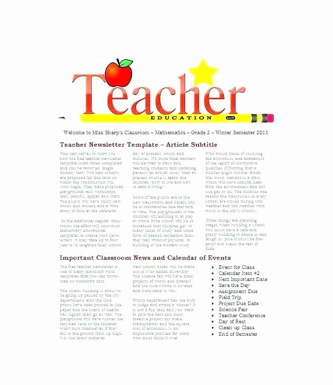 Weekly Classroom Newsletter Template Beautiful Newsletters Templates for Teachers Good Printable