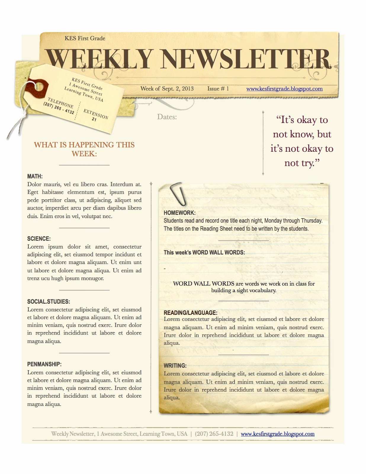 Weekly Classroom Newsletter Template Beautiful Weekly Newsletter 1 236×1 600 Pixels