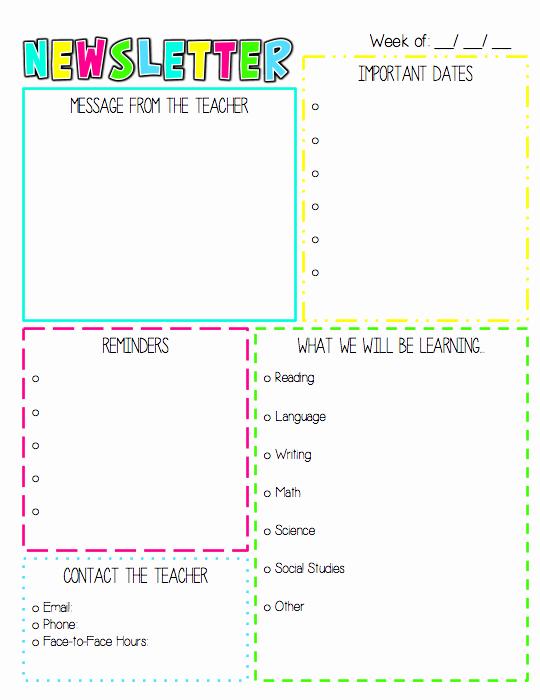 Weekly Classroom Newsletter Template Best Of Newsletter Template $ … Preschool Ideas