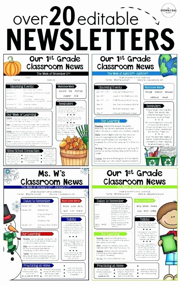 Weekly Classroom Newsletter Template Best Of Weekly Newsletter Template Editable Parent Newsletters