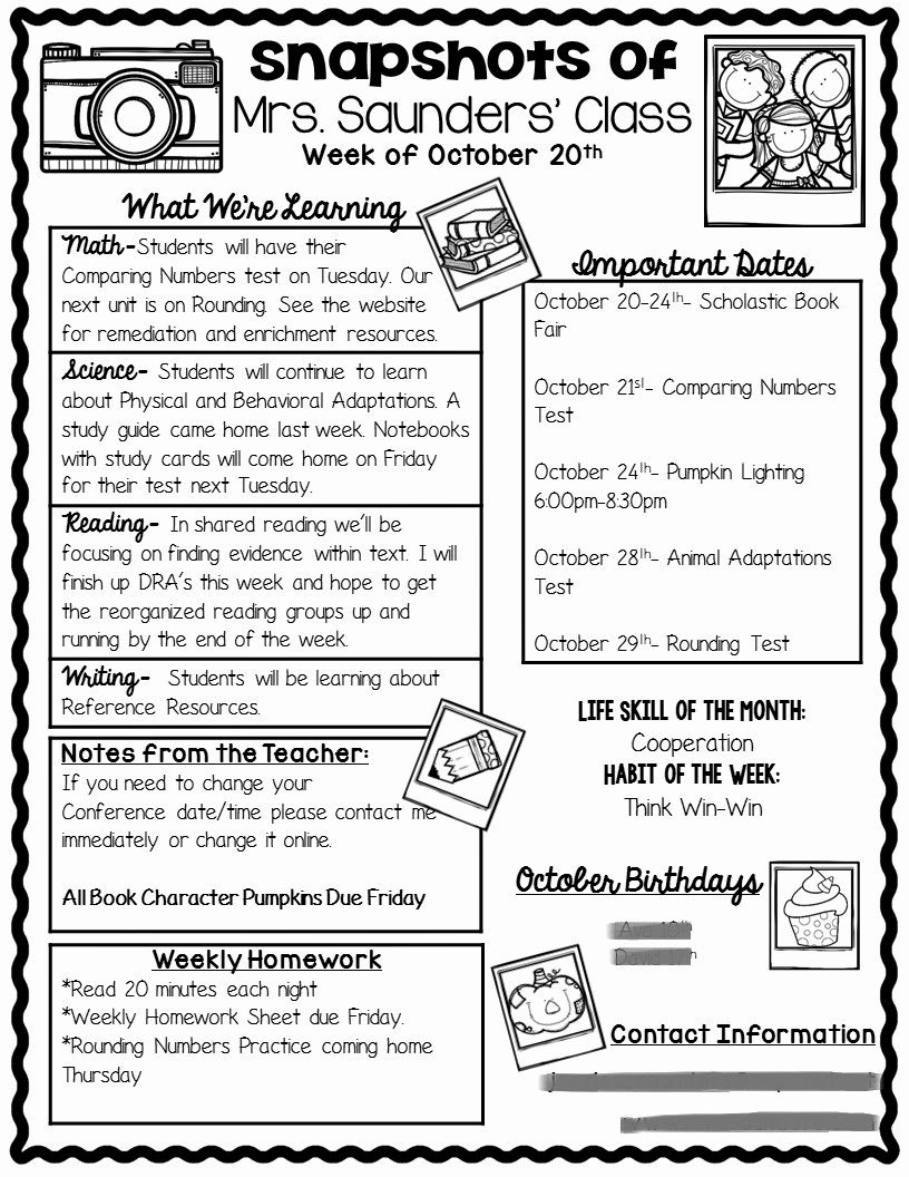 Weekly Classroom Newsletter Template Elegant the Teaching Oasis Parent Munication