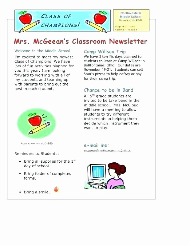 Weekly Classroom Newsletter Template Elegant Weekly Newsletter Template Classroom Newsletter Template