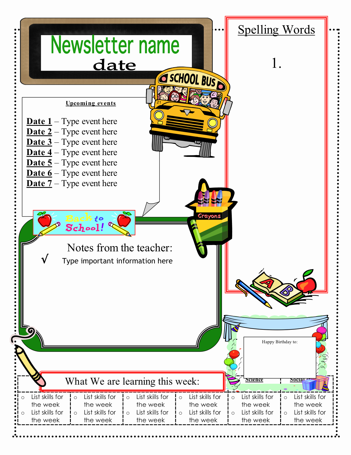 Weekly Classroom Newsletter Template Inspirational 3 6 Free Resources Free Classroom Newsletter Templates