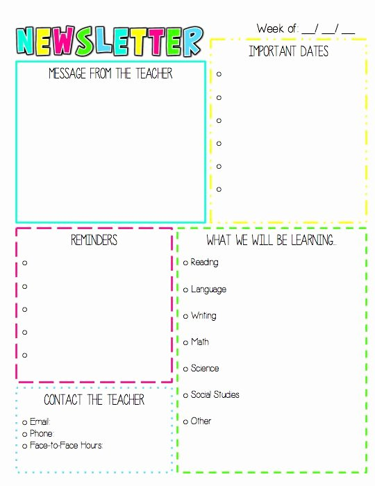 Weekly Classroom Newsletter Template Inspirational the 25 Best Weekly Newsletter Template Ideas On Pinterest