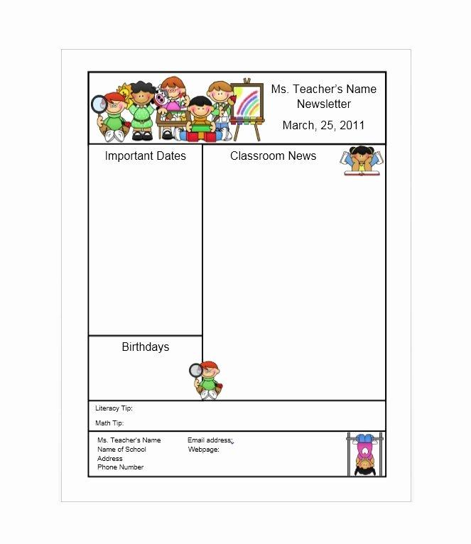 Weekly Classroom Newsletter Template Luxury 50 Free Newsletter Templates for Work School and Classroom