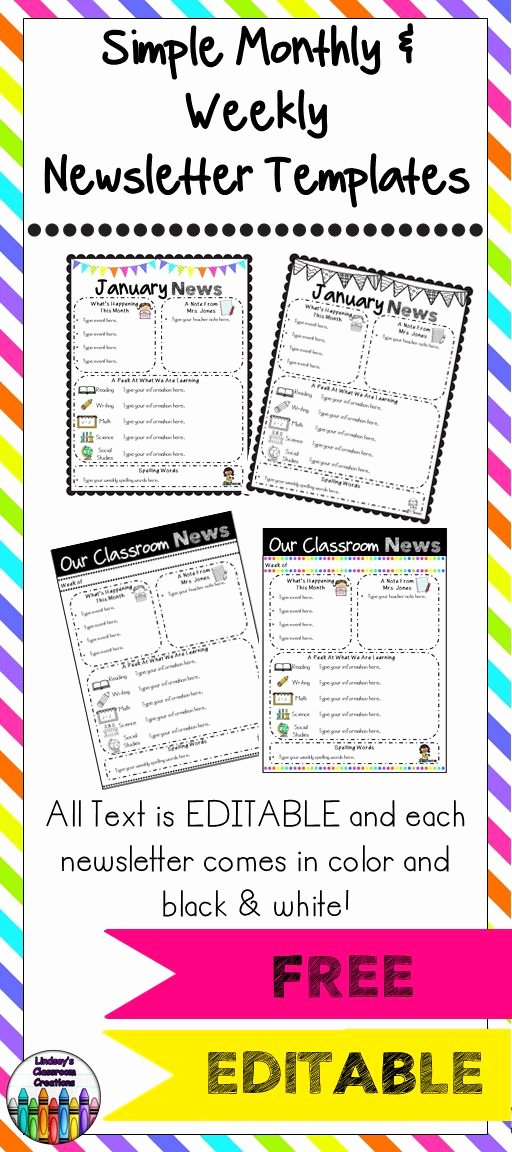 Weekly Classroom Newsletter Template New 25 Best Ideas About Newsletter Templates On Pinterest