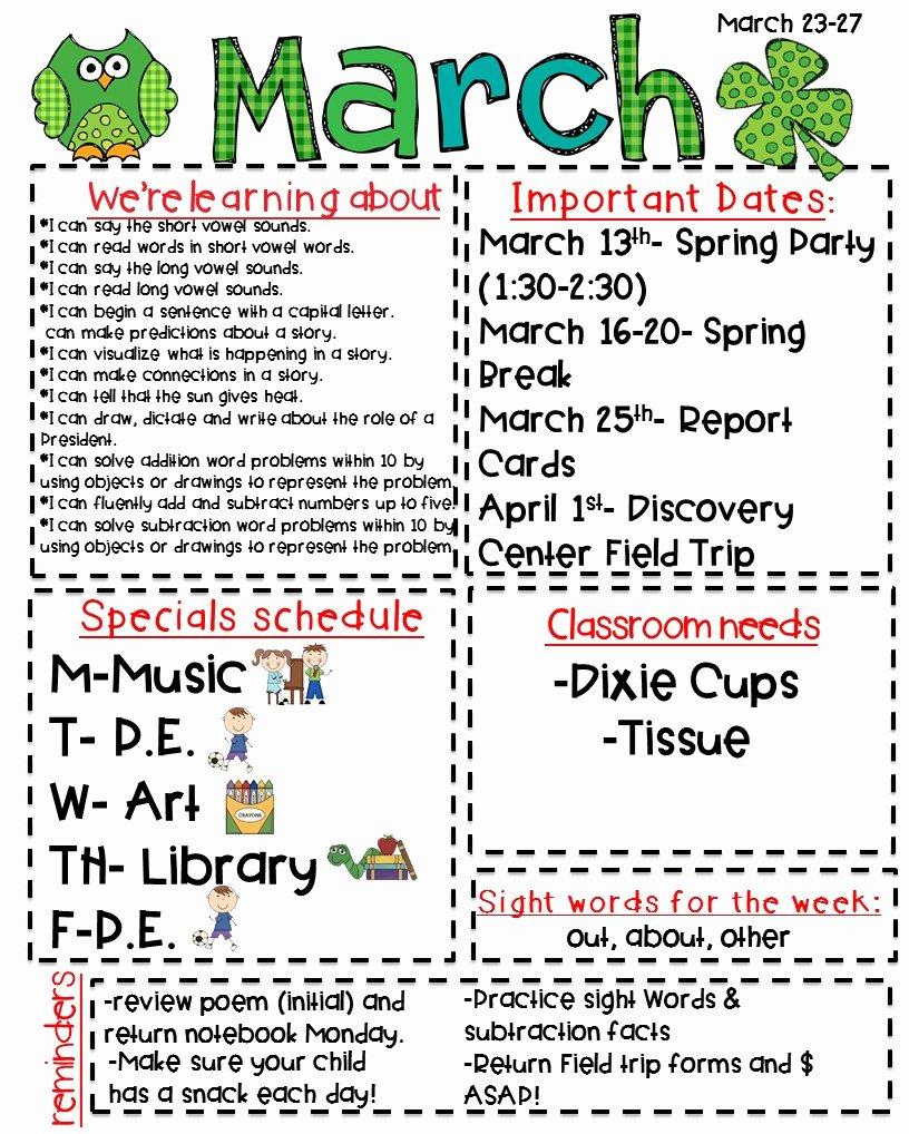 Weekly Classroom Newsletter Template New Classroom Newsletter Freebie Kickin It In Kindergarten
