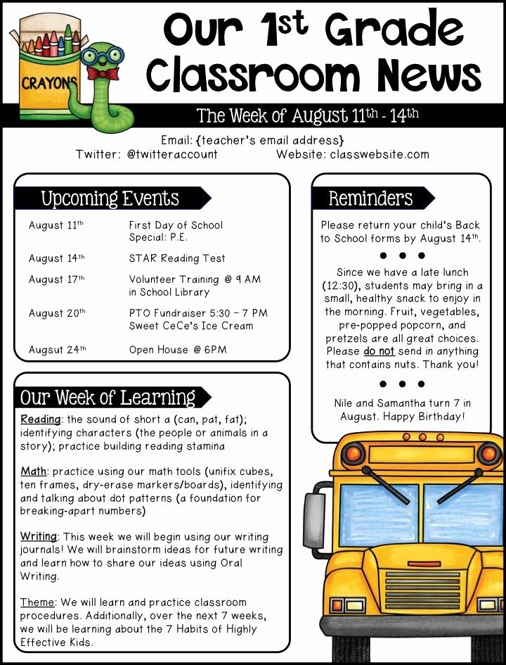 Weekly Classroom Newsletter Template Unique Best 25 Weekly Classroom Newsletter Ideas On Pinterest