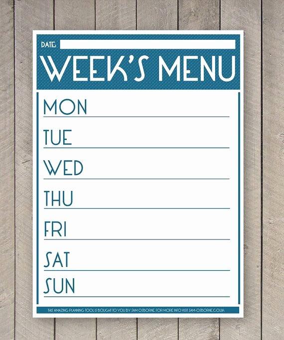Weekly Dinner Menu Template Beautiful Best 25 Printable Menu Ideas On Pinterest