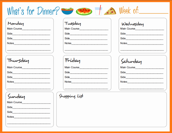 Weekly Dinner Menu Template Inspirational Meal Planning Templates On Pinterest
