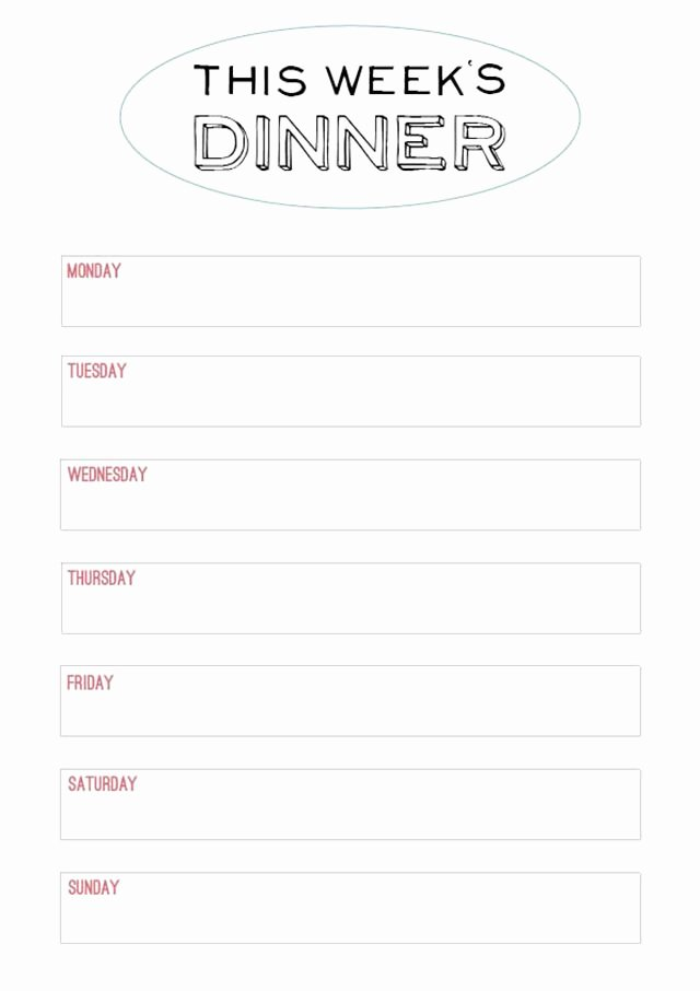 Weekly Dinner Menu Template Inspirational Printable Menu Template to Make the Planning Of Next