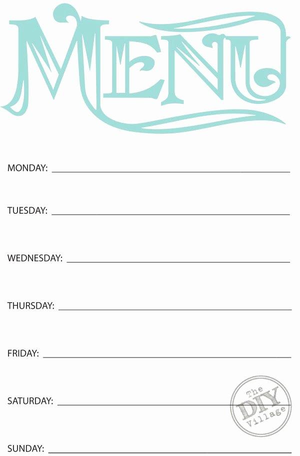 Weekly Dinner Menu Template Lovely Free Printable Weekly Menu Planner