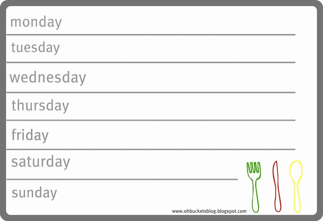 Weekly Dinner Menu Template Luxury Oh Buckets Meal Planning 101