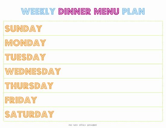 Weekly Dinner Menu Template Luxury Weekly Menu Template