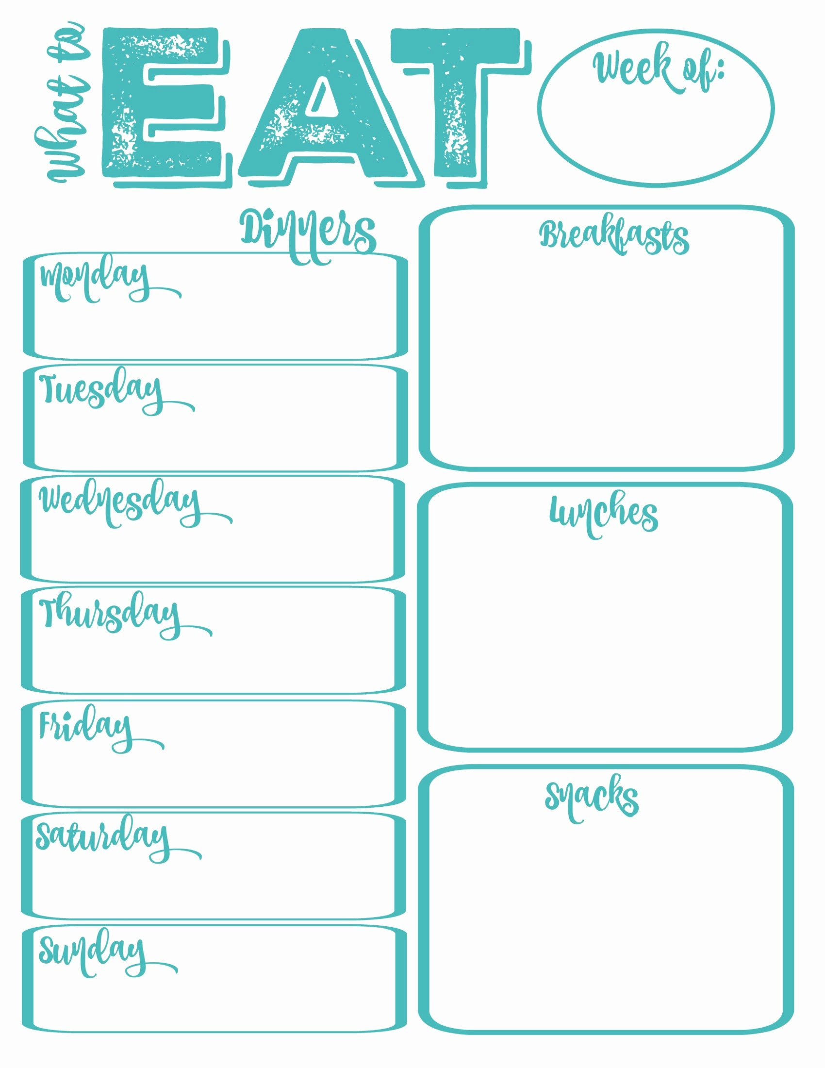 Weekly Dinner Menu Template Unique Pantry Makeover Free Printable Weekly Meal Planner and