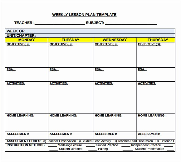 Weekly Lesson Plan Template Awesome Sample Middle School Lesson Plan Template 7 Free