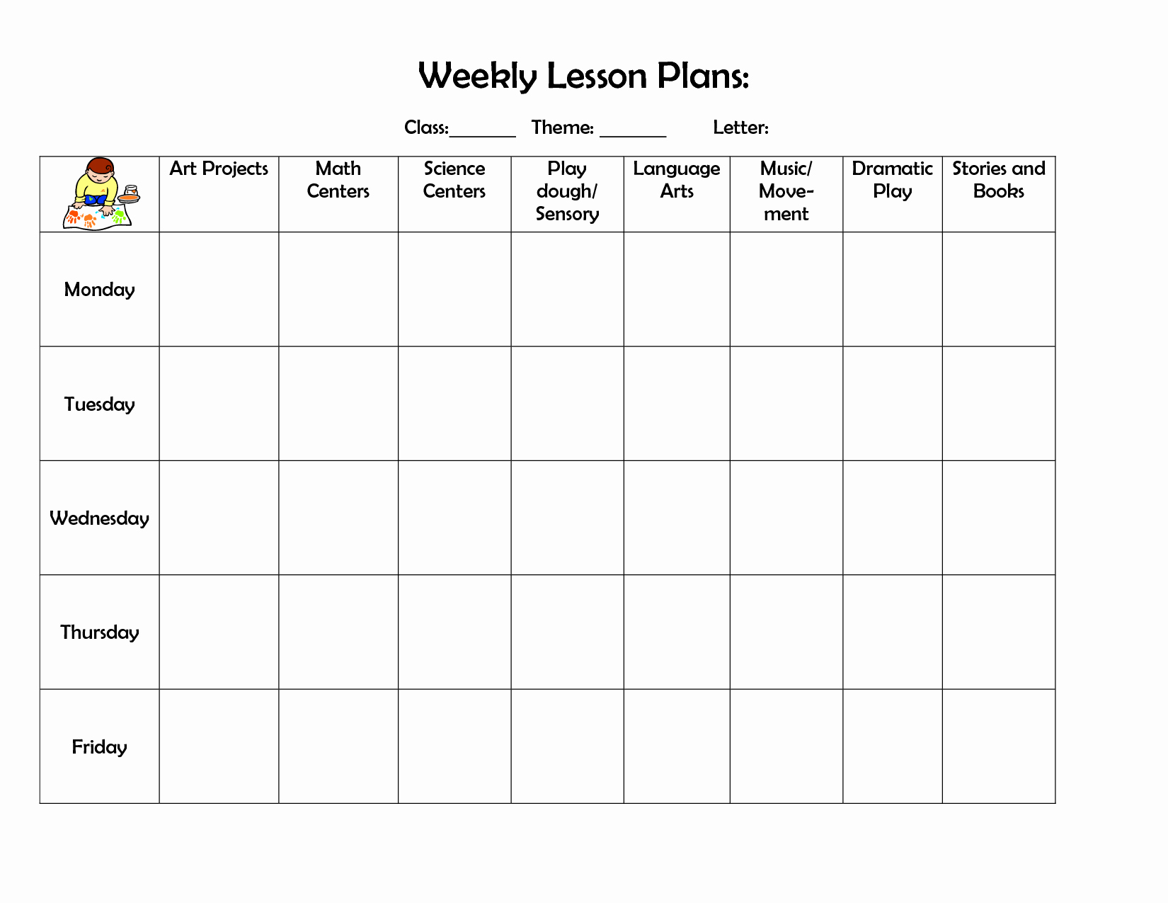 Weekly Lesson Plan Template Fresh Infant Blank Lesson Plan Sheets