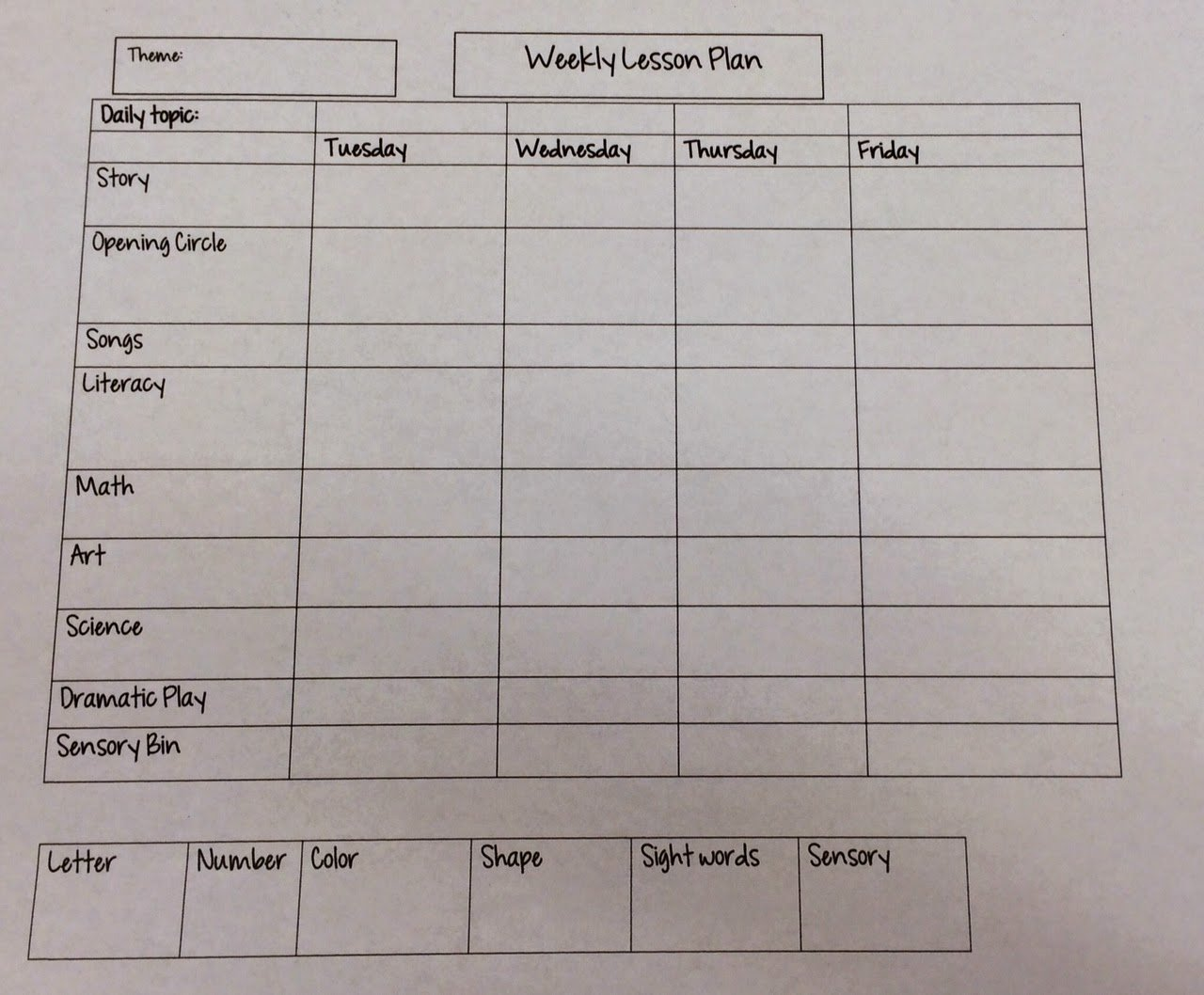 Weekly Lesson Plan Template Fresh Miss Nicole S Preschool Weekly Lesson Plan Template