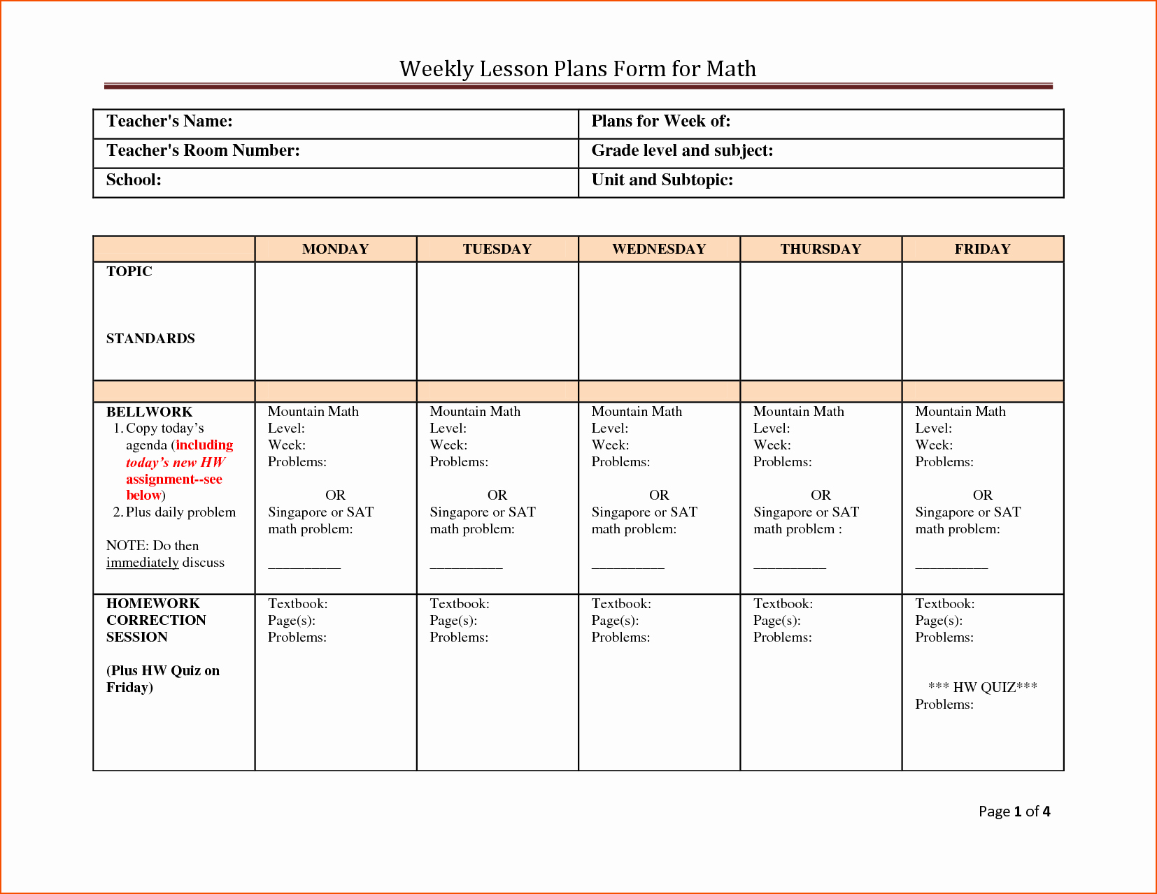 Weekly Lesson Plan Template Unique 7 Weekly Lesson Plan Template Bookletemplate