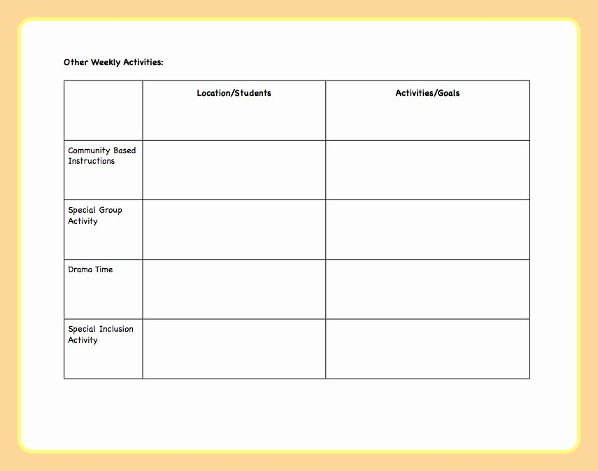 Weekly Lesson Plans Template Fresh Lesson Plan Template the Autism Helper